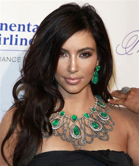 kim kardashian long wavy formal hairstyle dark mocha