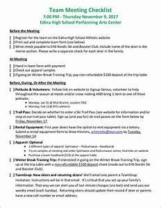 Meeting Minutes Sample Format Simple Team Meeting Checklist