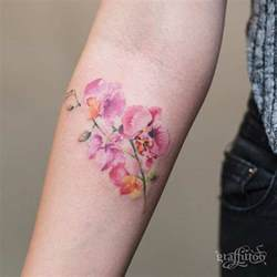 Watercolor Orchid Flower Tattoo
