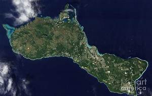 Satellite View Of The Island Of Guam Photograph by