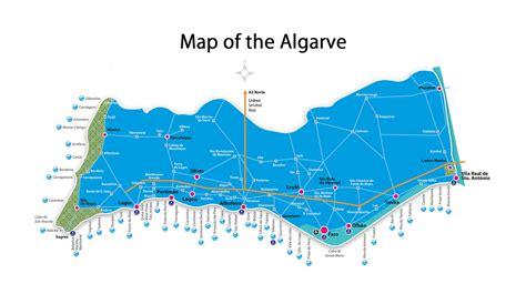 detailed map  algarve  beaches algarve portugal