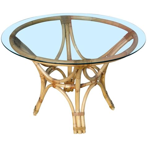 Rattan Bentwood Dining Table With Round Glass Top For Sale