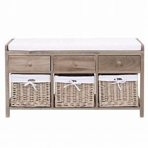 Banc De Rangement Maison Du Monde : banc de rangement en bois et coton l 103 cm eloise ~ Premium-room.com Idées de Décoration