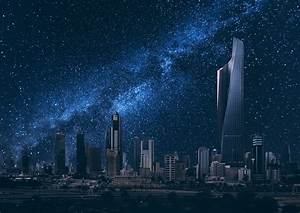 Kuwait the stars sky night city buildings wallpaper ...