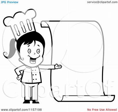 Chef Clipart Menu Blank Cartoon Coloring Presenting
