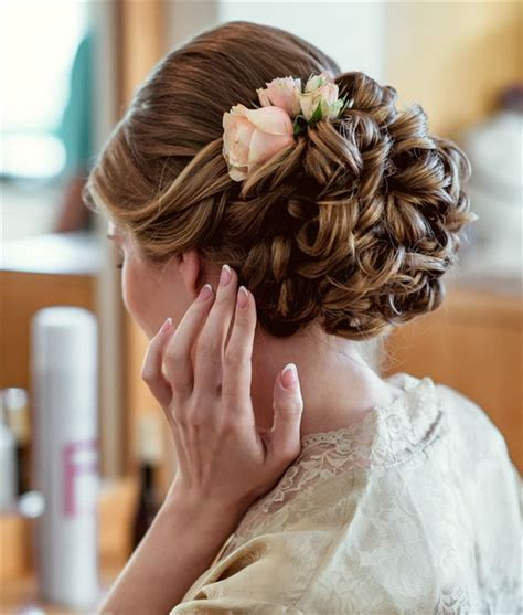 Updo Wedding Hairstyle With Pink Flower Deer Pearl Flowers