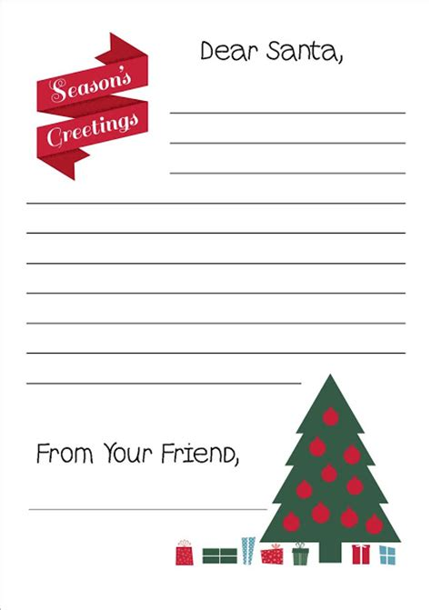 printable letter  santa writing paper