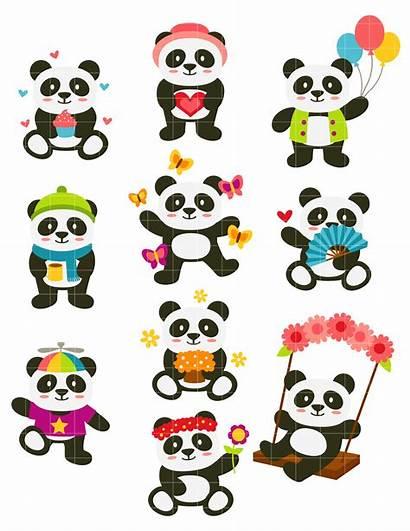 Panda Happy Clipart Clip Pandas Semi Drawing