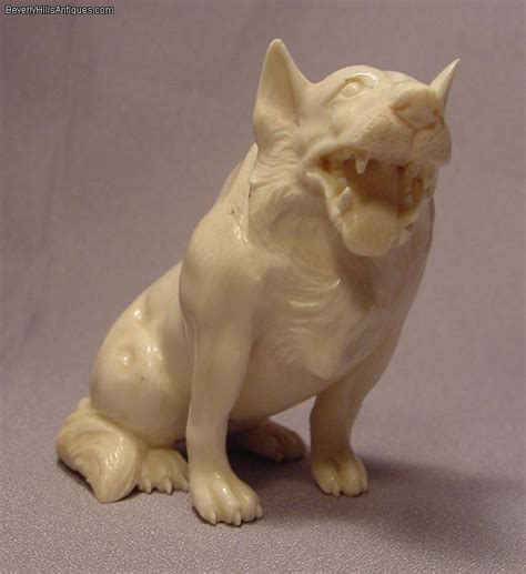 The international netsuke society and its directors and officers make no representations, statements and/or warranties regarding the accuracy of any advertising or the reliability of any individual or entity whose listing appears herein. Rare Fierce Carved Ivory Large Wolf Like Netsuke For Sale ...