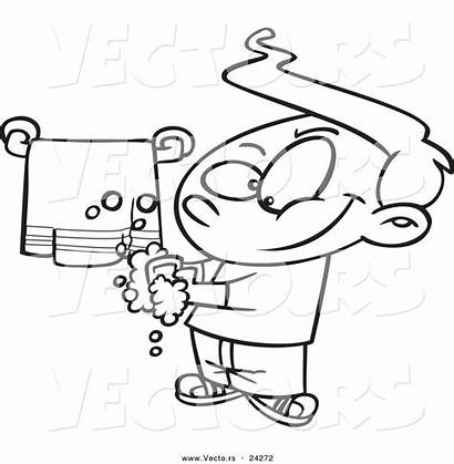 Washing Hands Cartoon Coloring Clean Boy Pages