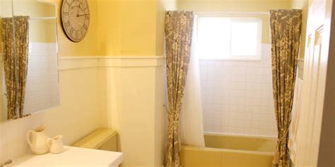 mustard yellow tub  toilet updated bathroom