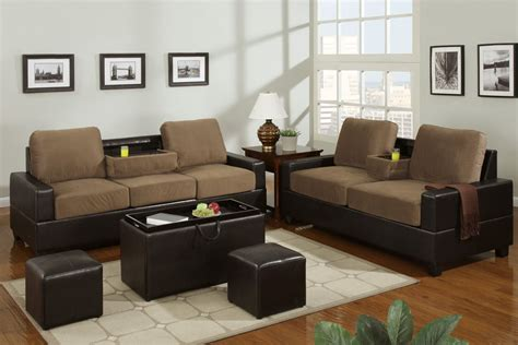 Microfiber And Loveseat Sets by Poundex Rashad F7507 F7508 Beige Microfiber Sofa And