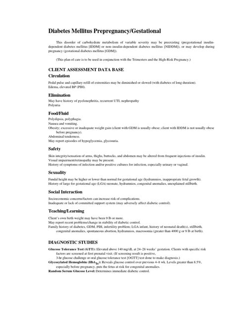NCP: Diabetes Mellitus Prepregnancy/Gestational | Pregnancy