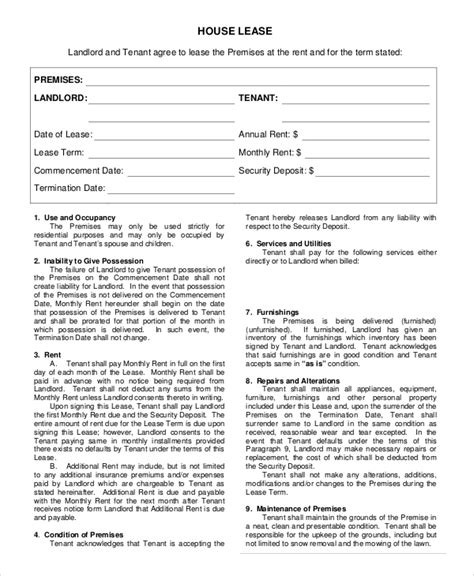 sample house rental agreement templates