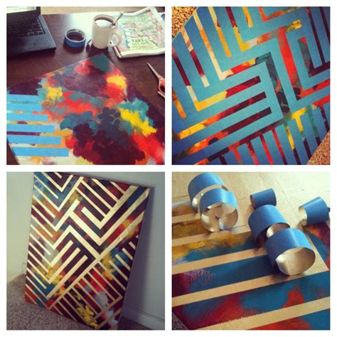 diy painting paint canvas with colors design with