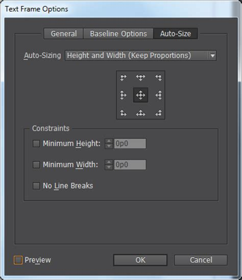 text frame fitting options  indesign