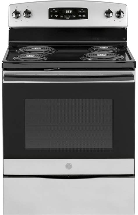 ge   standing electric range stainless steel jbrmss spencers tv appliances