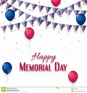 Happy Memorial Day Banner On White Background Stock Vector ...