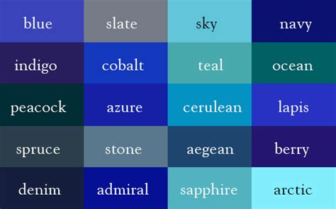 shades of blue color names of the different shades of blue home decor
