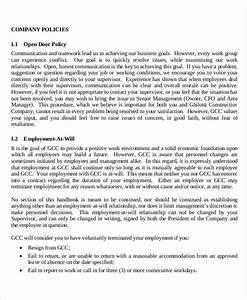 employee handbook template for small business - employee handbook sample 9 free pdf documents download