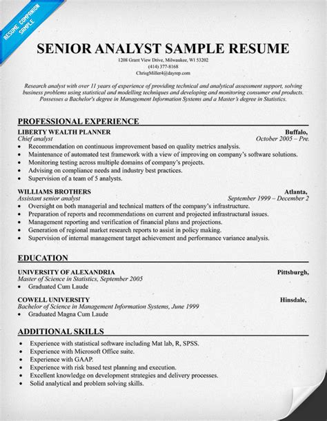 senior business analyst resume sle business analyst