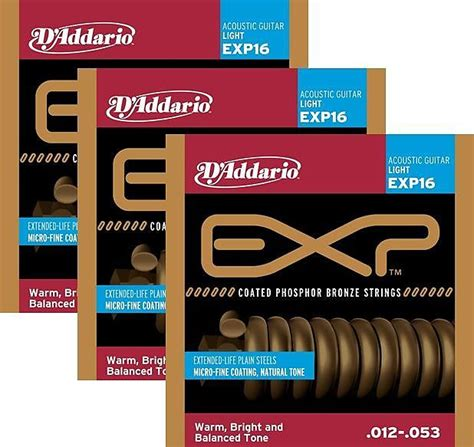 3 sets d addario exp16 coated phosphor bronze acoustic