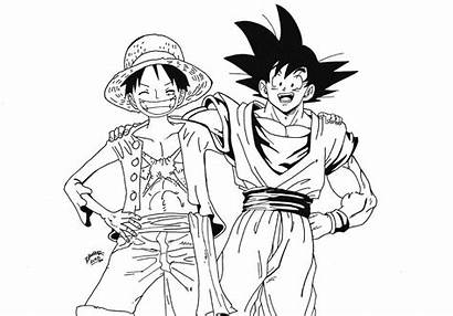 Goku Drawing Luffy Piece Vegeta Ssgss Deviantart