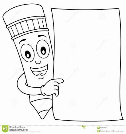 Pencil Blank Coloring Paper Character Cartoon Holding