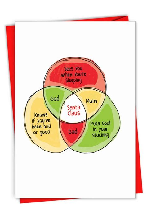 Santa Venn Diagram Hilarious Merry Christmas Printed