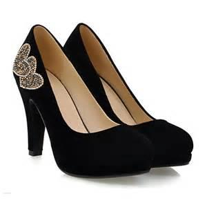 chaussure mariage petit talon pompes beau noir les chaussures de soirée de daim strass talons épais femmes 431506029 veaul