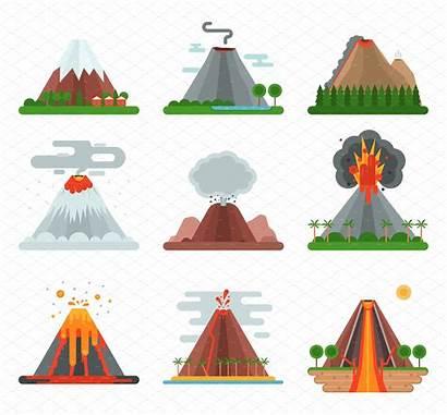 Volcano Vector Illustration Clipart Volcanic Drawing Magma