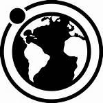 Earth Moon Orbit Icon Around Satellite Svg