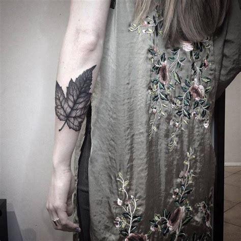 blackworkdotwork maple leaf cover  tattoo  monikas