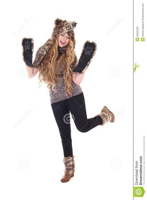 beautiful girl  cat costume stock image image