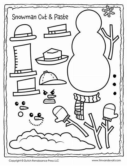 Snowman Paste Cut Template Printable Activity Pages