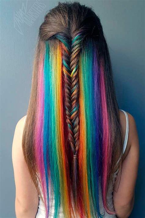 18 Mesmerizing Hidden Rainbow Hair Hair And Beauty