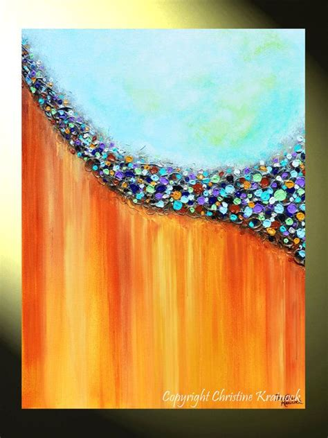 canvas prints giclee abstract print teal gold painting multi rust aqua wall decor eye etsy colored sell
