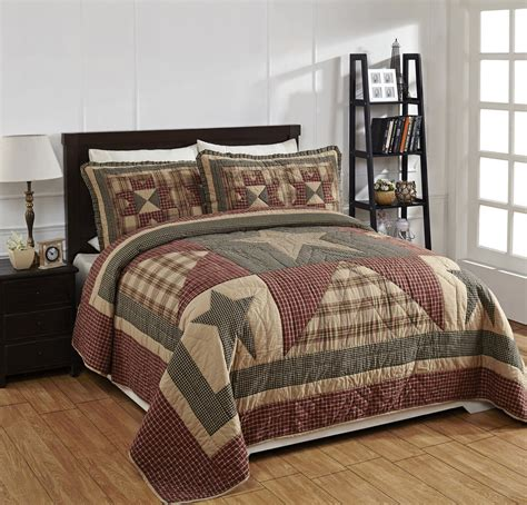 quilted comforter set 4 quot plymouth quot quilted bedding set country primitive new ebay