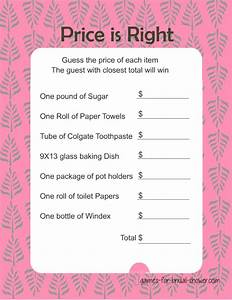 free printabel price is right bridal shower game With price is right bridal shower game template