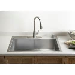 kohler vault 33 quot x 22 quot x 9 5 16 quot top mount mount large single bowl kitchen sink with