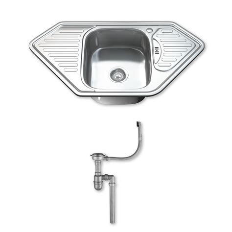 kitchen sink with drainer 1 0 single corner bowl stainless steel kitchen sink tap 8809