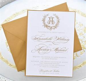 gold wedding invitation monogram invitation elegant With elegant wedding invitations number
