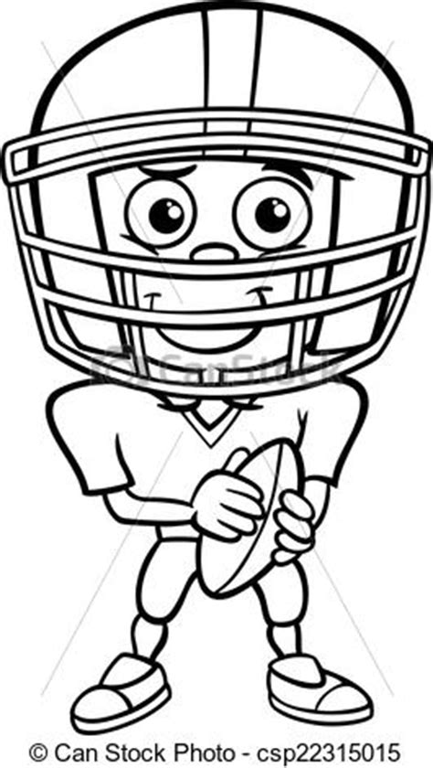 boy football player coloring page black  white cartoon illustration  funny boy american