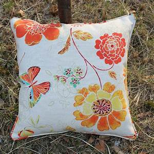 2pcs lot wholesale orange flower embroidery cotton With cheap pillow covers for throw pillows