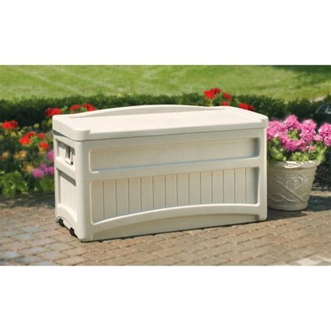 patio deck box 7 deck box with seat and wheels 73 gallon taupe suncast