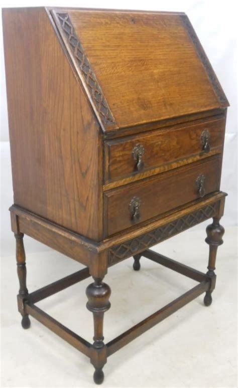 small carved oak writing bureau 80318 sellingantiques co uk