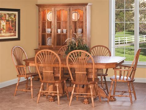 amish made oak table and chairs amish country pedestal dining set table chair cottage wood