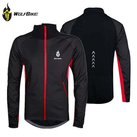 waterproof winter cycling jacket wolfbike black winter thermal fleece windproof waterproof
