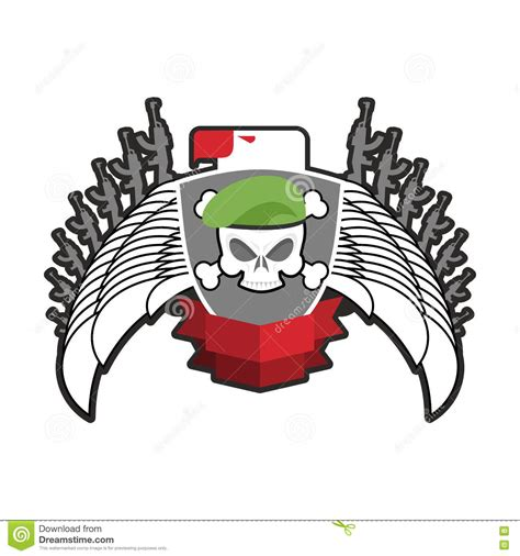 military emblem army logo soldiers badge skull in beret wing stock vector illustration