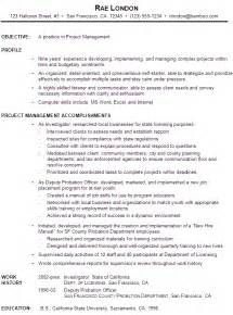 functional resume description functional resume exle project manager